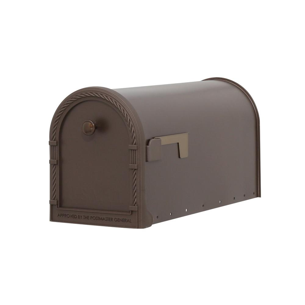 Designer Steel Post-Mount Mailbox with Decorative Frame, Venetian Bronze