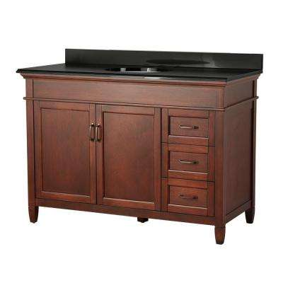Ashburn 49 in. W x 22 in. D Vanity in Mahogany with Right Drawers with Colorpoint Vanity Top in Black