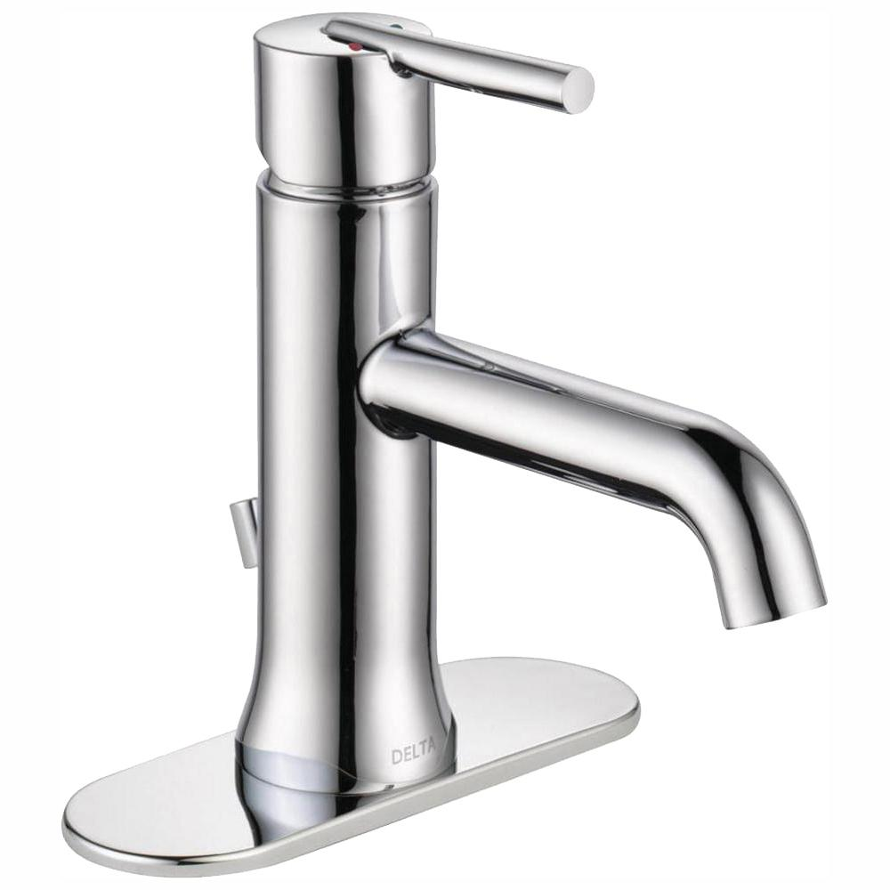 Delta Trinsic Single Hole Handle Bathroom Faucet With Metal Drain Embly In Chrome