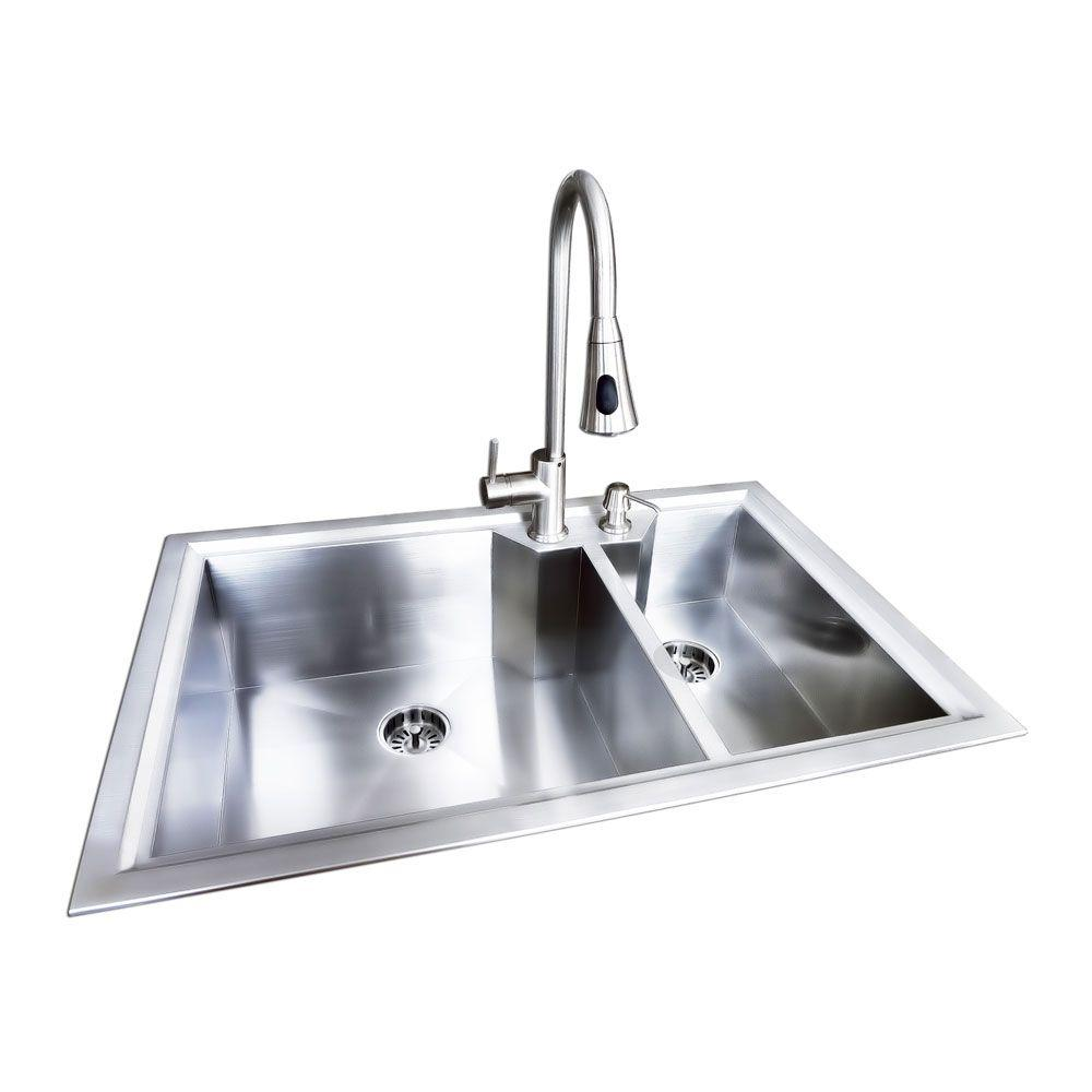 Glacier Bay Dual Mount Stainless Steel 33 In 2 Hole Double Bowl Fabricated Offset Kitchen Sink With Faucet