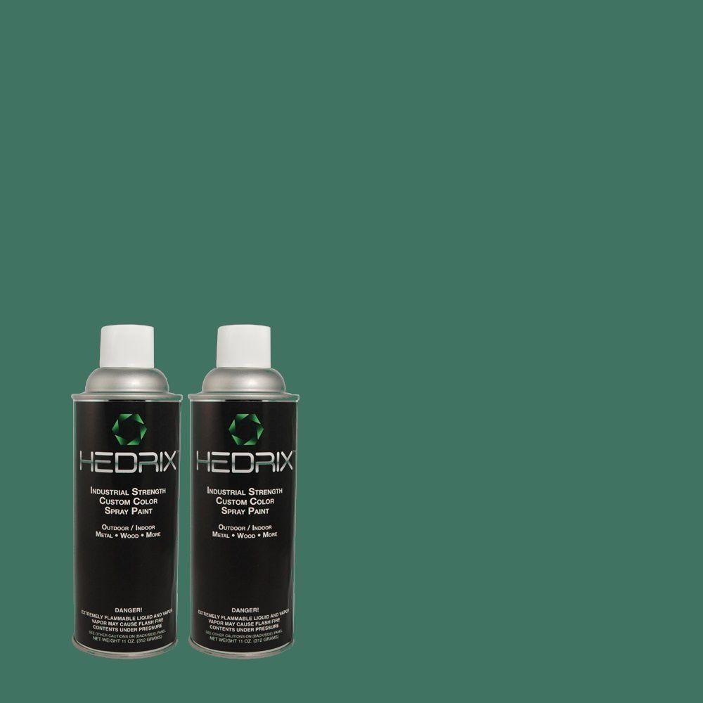 Hedrix 11 oz. Match of 500D-7 Caribbean Green Low Lustre Custom Spray Paint (2-Pack)