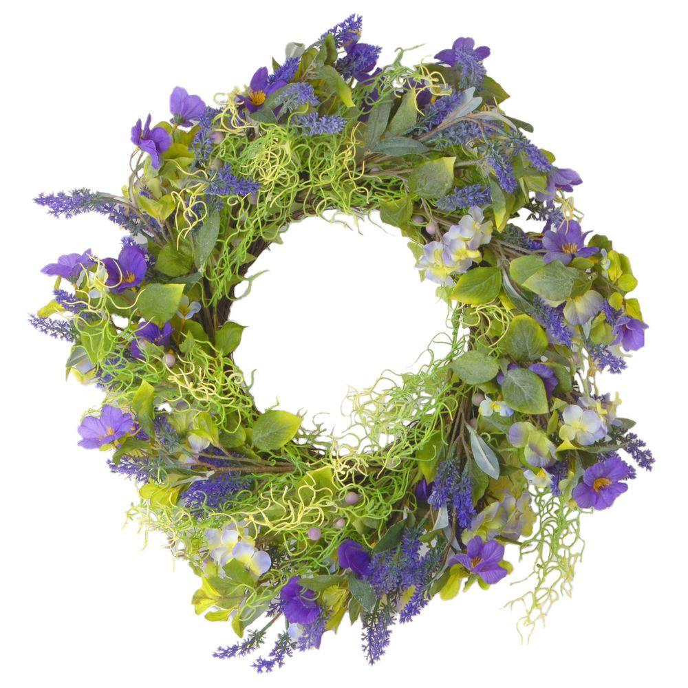 24 in. Green and Purple Wreath