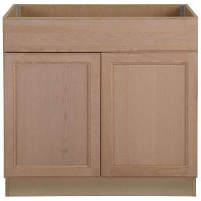 Easthaven Assembled 36x34 5x24 In Frameless Sink Base Cabinet With False Drawer Front In Unfinished German Beech