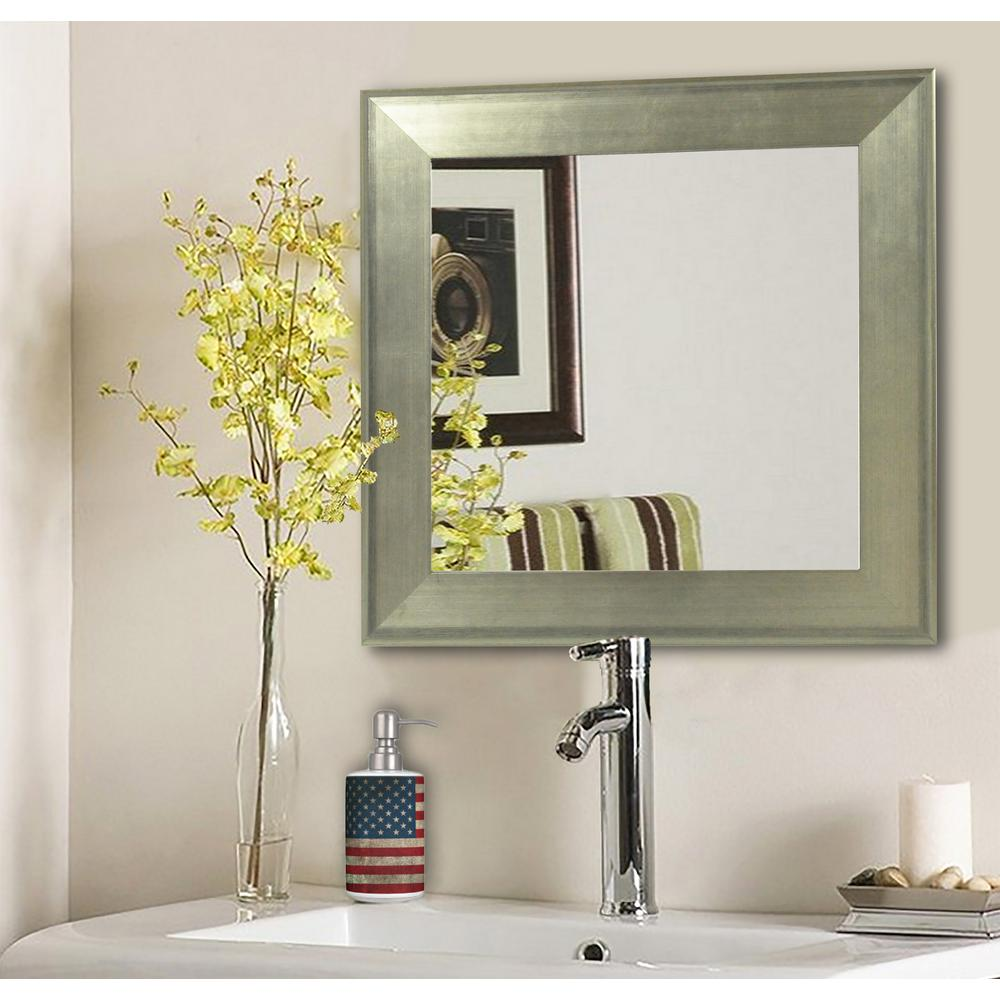 185 In X 185 In Brushed Silver Square Vanity Wall Mirrors Set