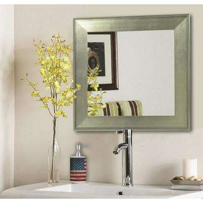 30.5 in. x 30.5 in. Brushed Silver Square Vanity Wall Mirror
