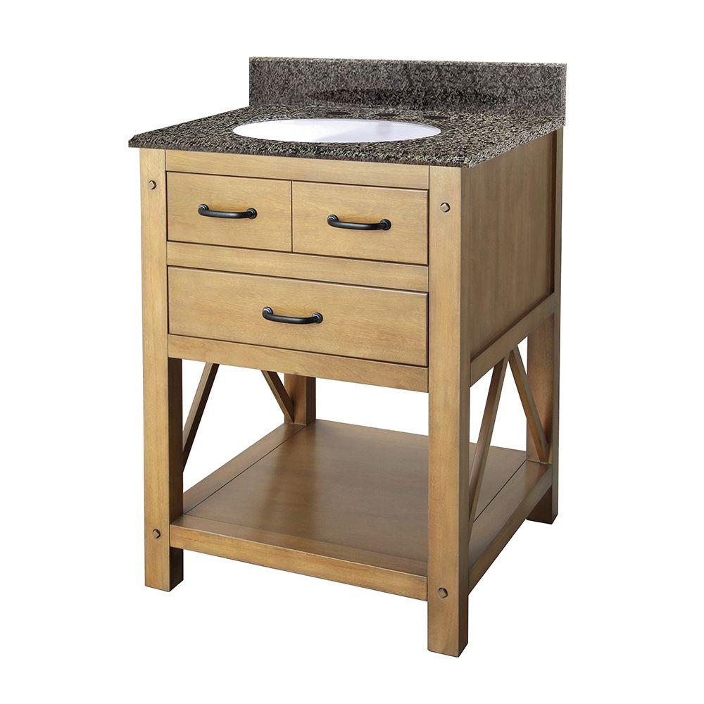 Avondale 25 In Vanity In Weathered Pine With Granite