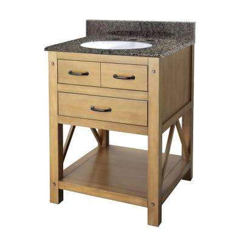 Avondale 25 in. Vanity in Weathered Pine with Granite Vanity Top in Quadro