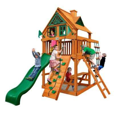 Chateau Tower Treehouse with Amber Posts Cedar Swing Set