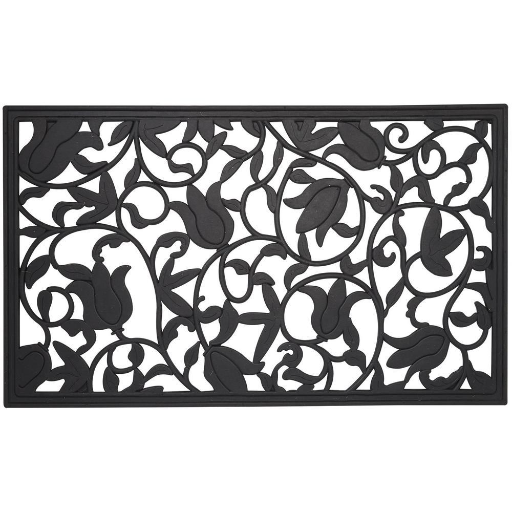 Wrought Iron Collection Black Tulips 30 in. x 18 in. Rubber Outdoor/Indoor Door Mat