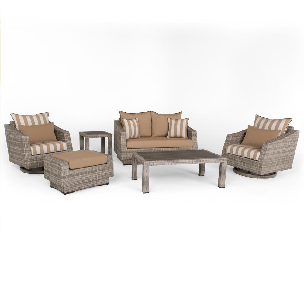 Cannes 6 piece all weather wicker deluxe patio loveseat and motion club chair conversation set with maxim beige cushions