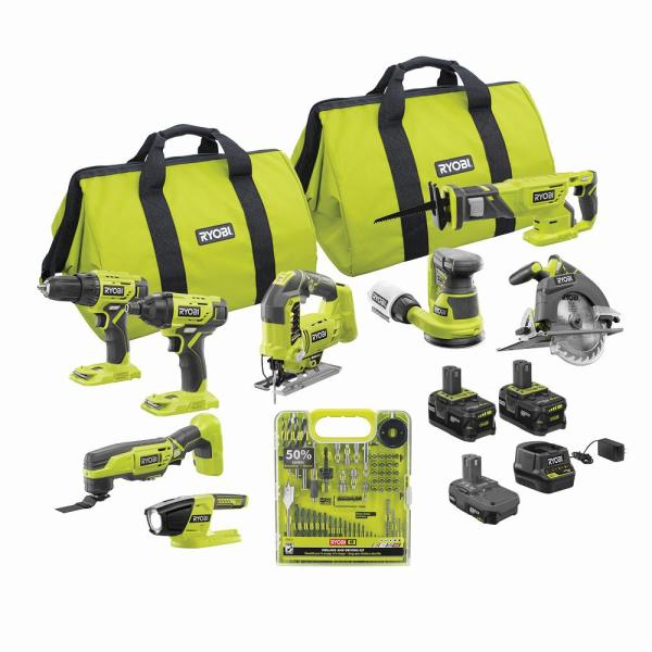ONE+ 18V Cordless 8-Tool Combo Kit with (3) Batteries, Charger, and 60-Piece Drill and Drive Kit
