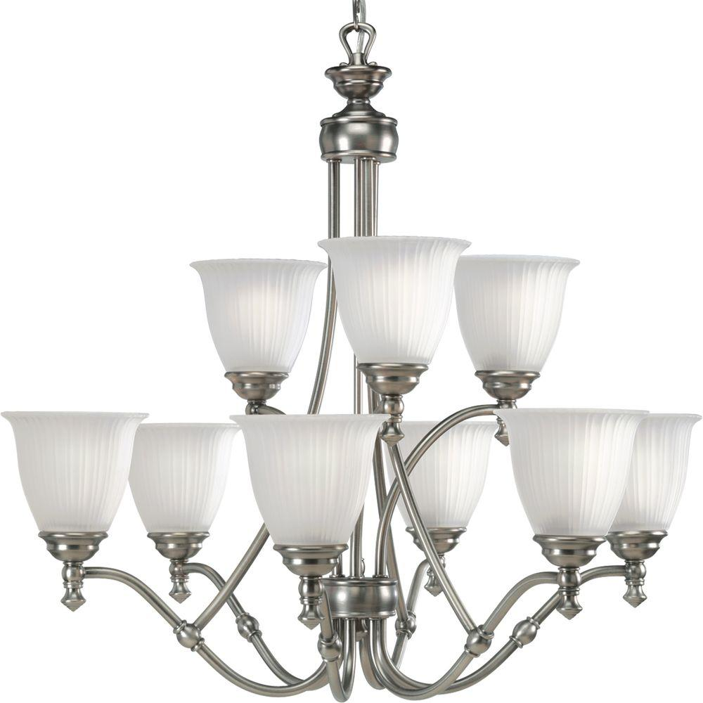 Progress Lighting Renovations Collection 9-Light Antique Nickel Chandelier with Etched Glass