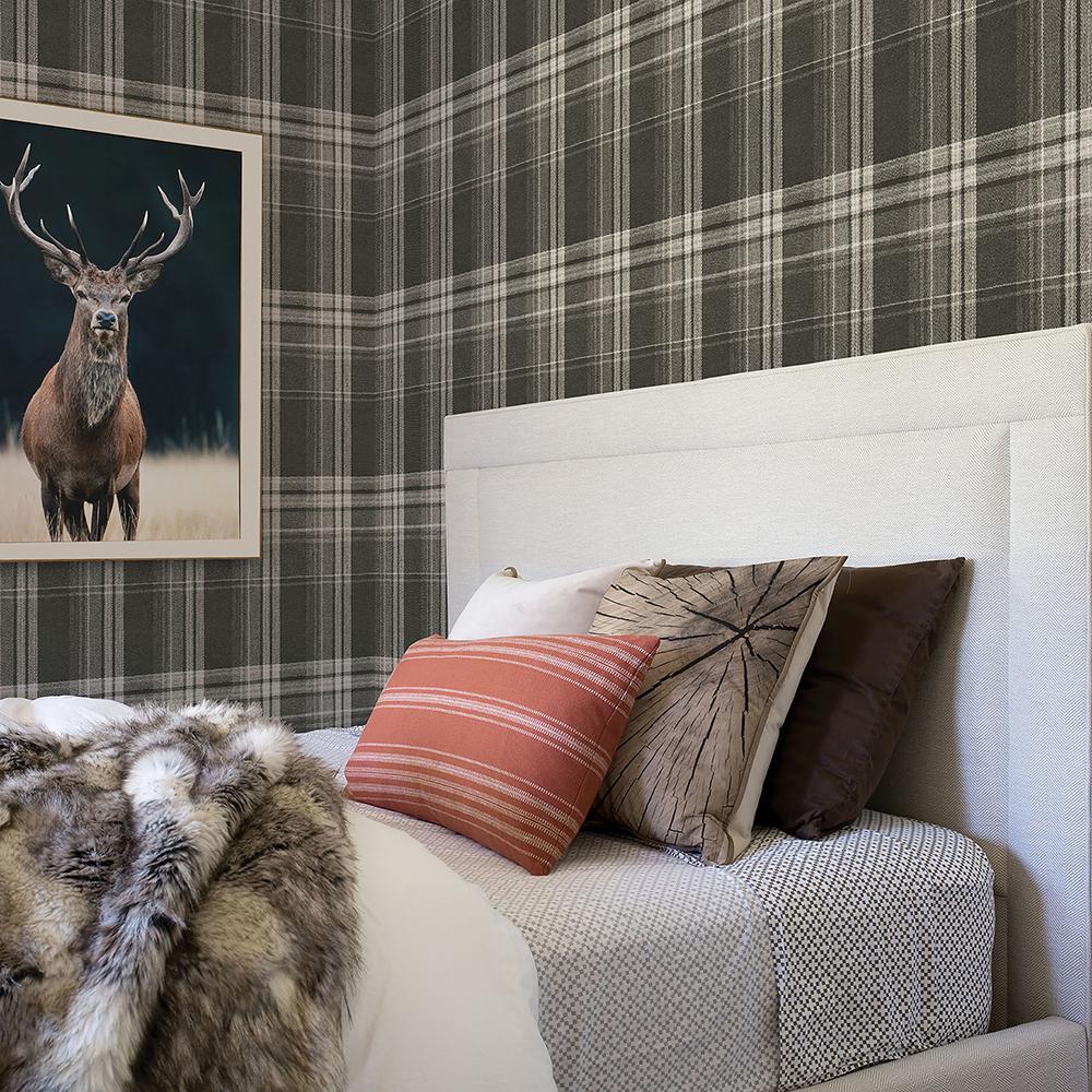56.4 sq. ft. Saranac Dark Brown Flannel Wallpaper