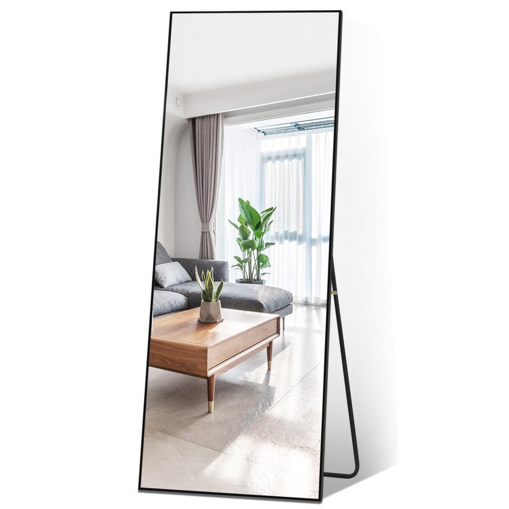 65 in. x 22 in. Black Industrial Style Metal Slim Frame Large Full Length Standing Mirror Wall Mirror Bedroom