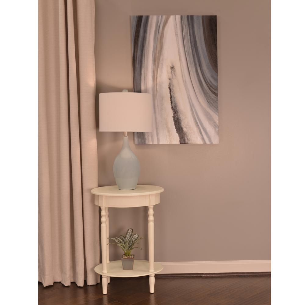 Decor therapy simplify antique white oval end table fr1473 for Decor therapy