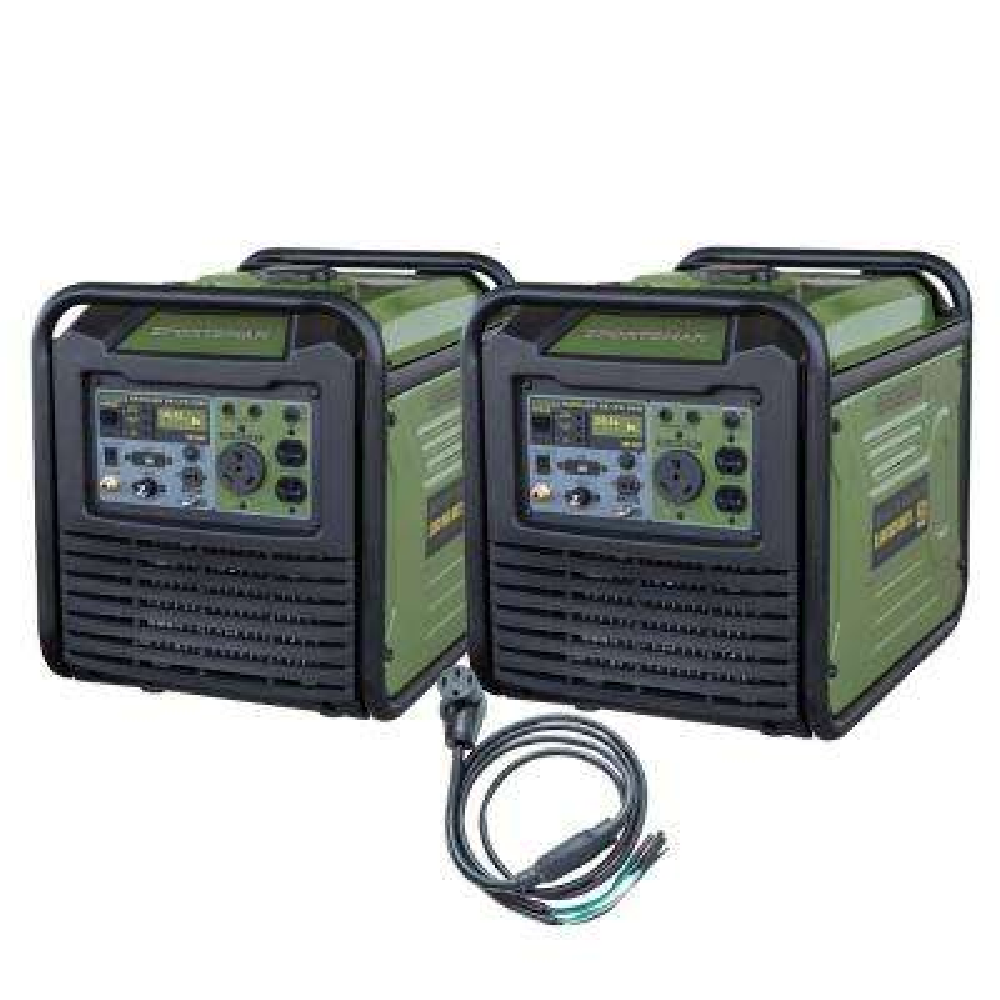 7,000-Watt/6,000-Watt Dual Fuel Powered Recoil Start Portable Digital Inverter Generator Kit with 50 Amp Parallel Cable