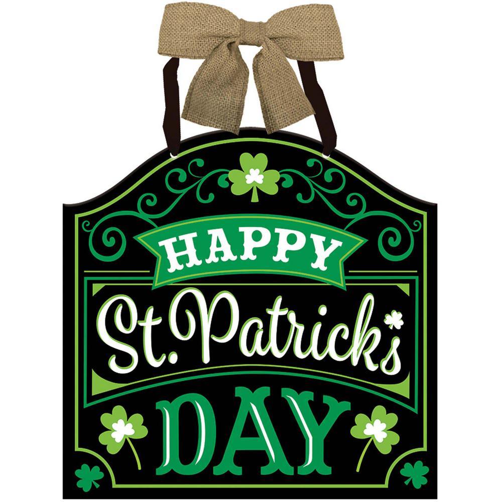 12 in. x 11.75 in. Happy St. Patrick's Day MDF Sign (4-Pack)