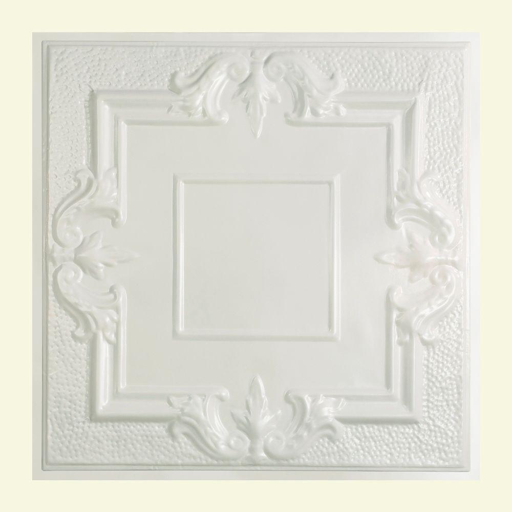 Great Lakes Tin Niagara 2 ft. x 2 ft. Lay-in Tin Ceiling Tile in Gloss White
