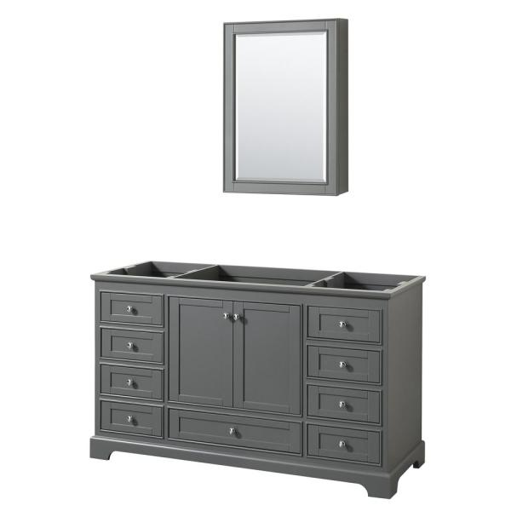 Deborah 59.25 in. W x 21.5 in. D Vanity Cabinet with Medicine Cabinet in Dark Gray