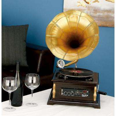 14 in. x 25 in. Vintage Wood and Metal Gramophone in Gold and Brown