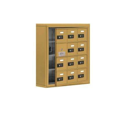 19100 Series 24 in. W x 25.5 in. H x 6.25 in. D 11 Doors Cell Phone Locker Surface Mount Resettable Lock in Gold