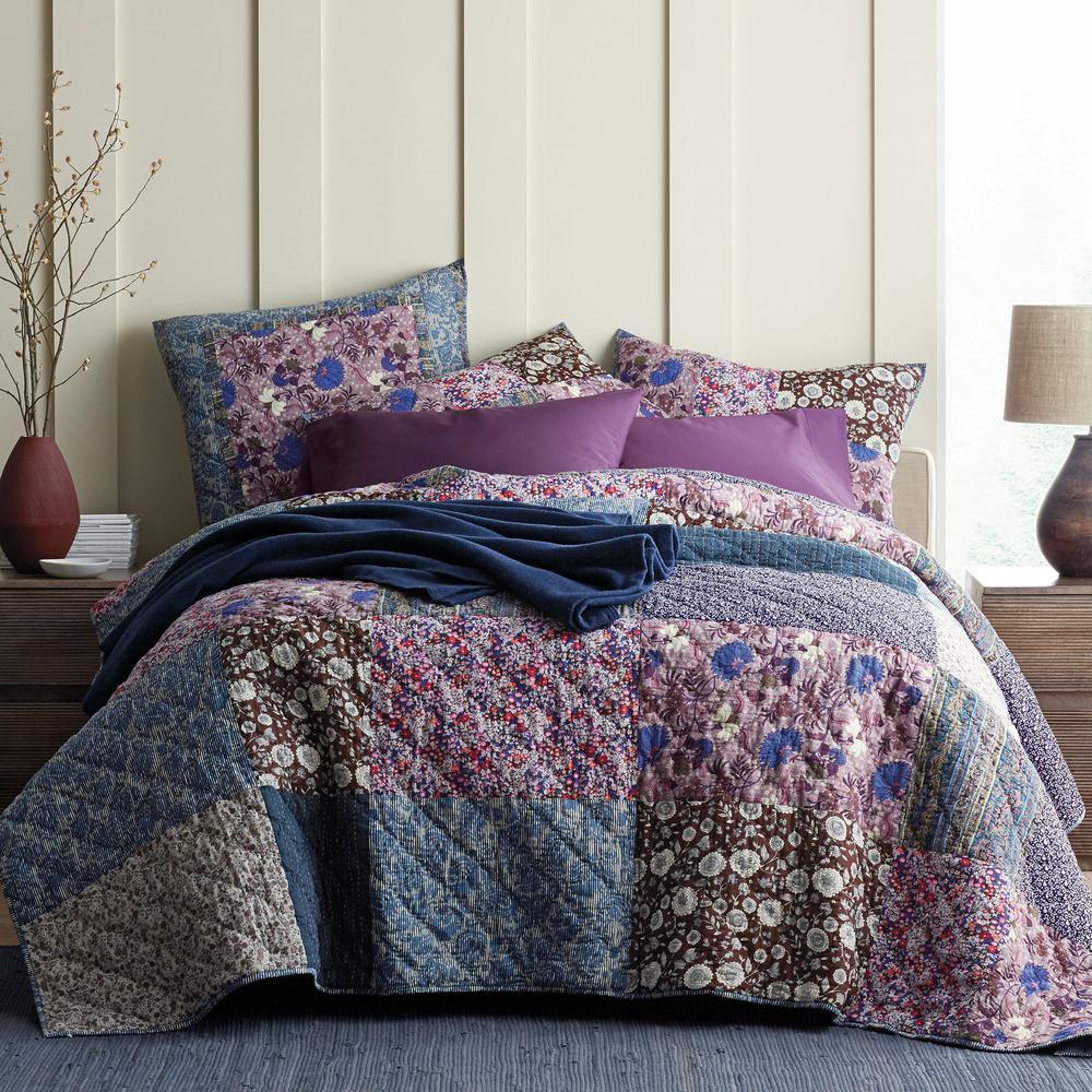Midnight Garden Cotton Patchwork Quilt