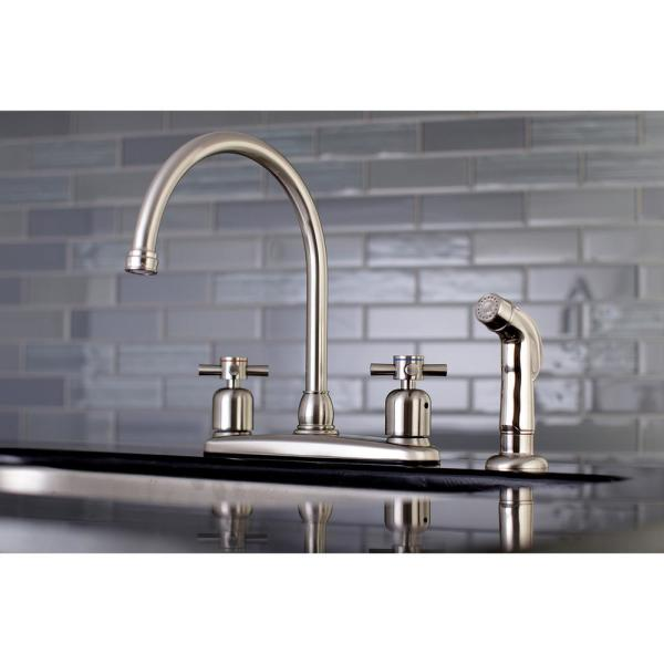 Kingston Brass Concord 2 Handle Standard Kitchen Faucet With Side Sprayer In Brushed Nickel Hfb798dxsp The Home Depot