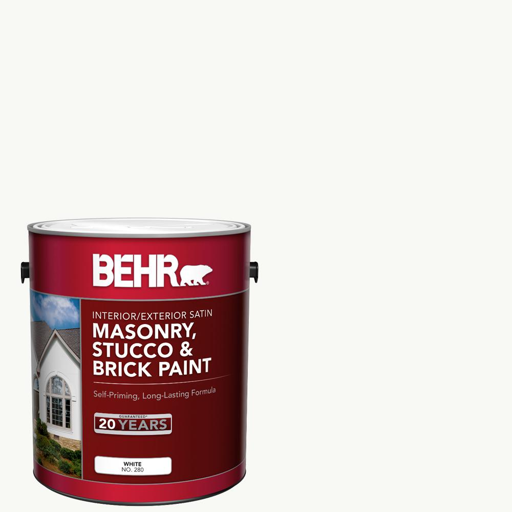 BEHR 1 gal. White Satin Enamel Masonry, Stucco and Brick Interior/Exterior Paint