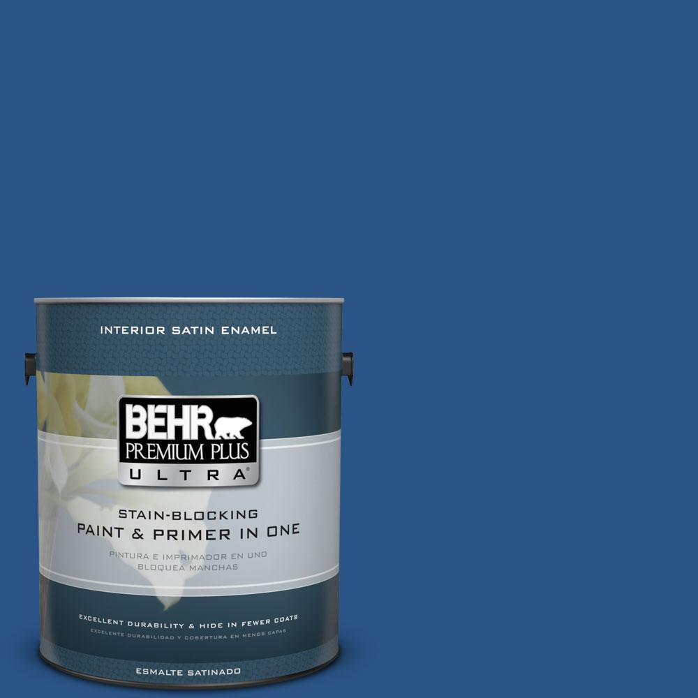 1 gal. #590B-7 Award Blue Satin Enamel Interior Paint and Primer