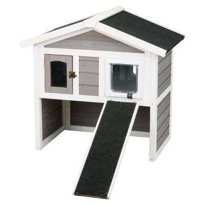 30.5 in. x 21.5 in. x 29.5 in. Insulated Cat Home in Gray/White