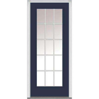 32 in. x 80 in. Internal Grilles Right-Hand Inswing Full Lite Clear Low-E Painted Fiberglass Smooth Prehung Front Door