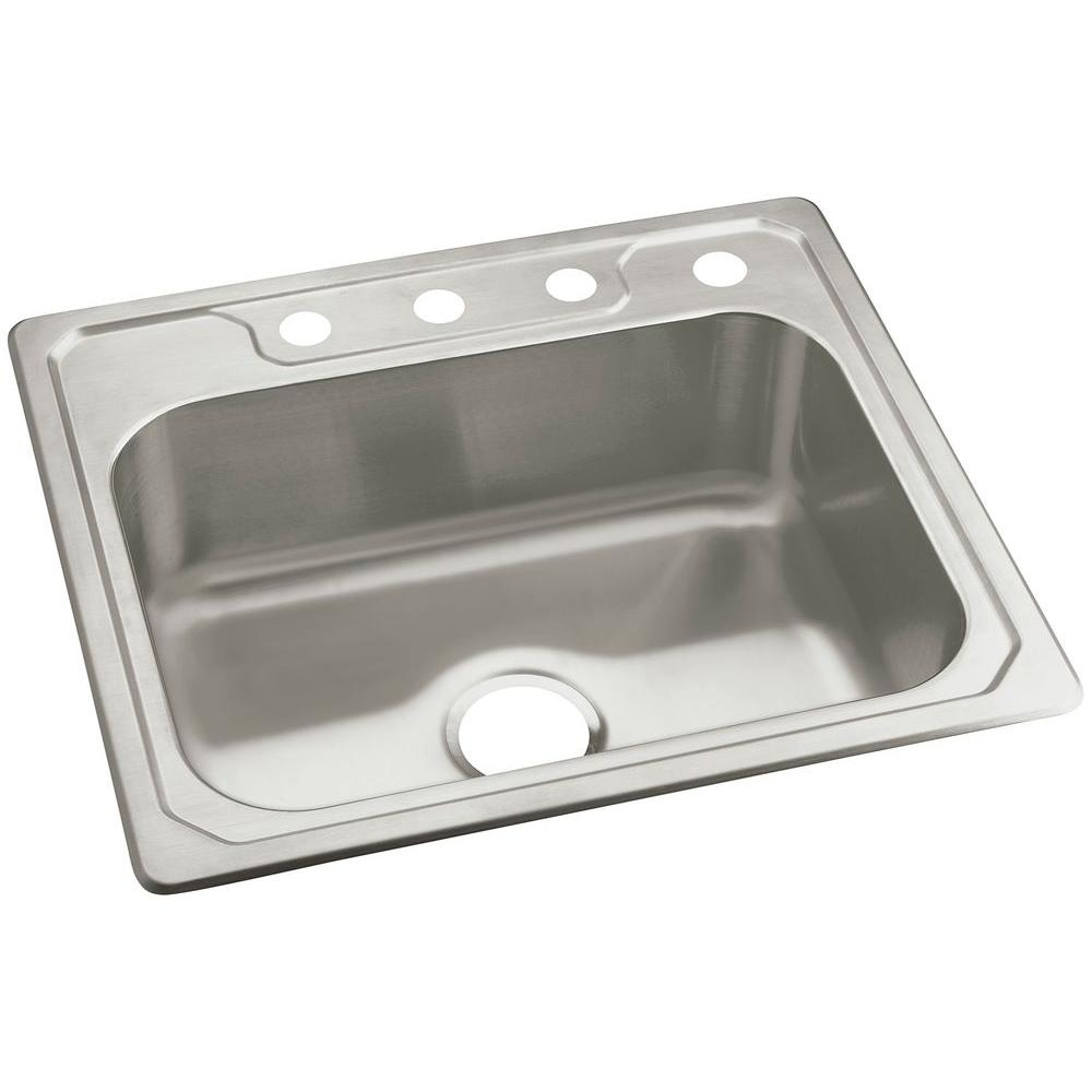 sterling middleton drop in stainless steel 25 in  4 hole single bowl kitchen sterling middleton drop in stainless steel 25 in  4 hole single      rh   homedepot com