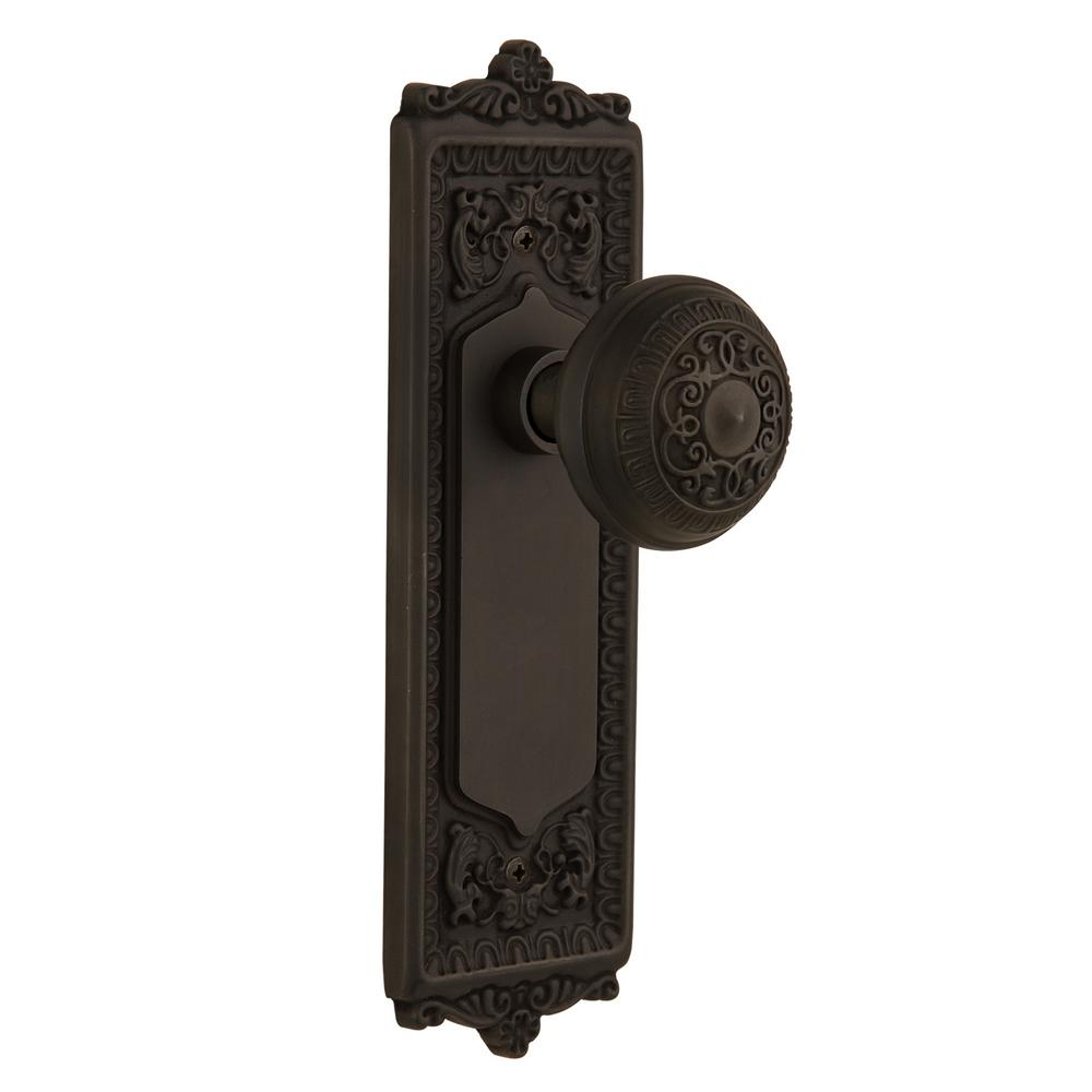 Egg and Dart Plate 2-3/8 in. Backset Oil-Rubbed Bronze Passage Egg and Dart Door Knob