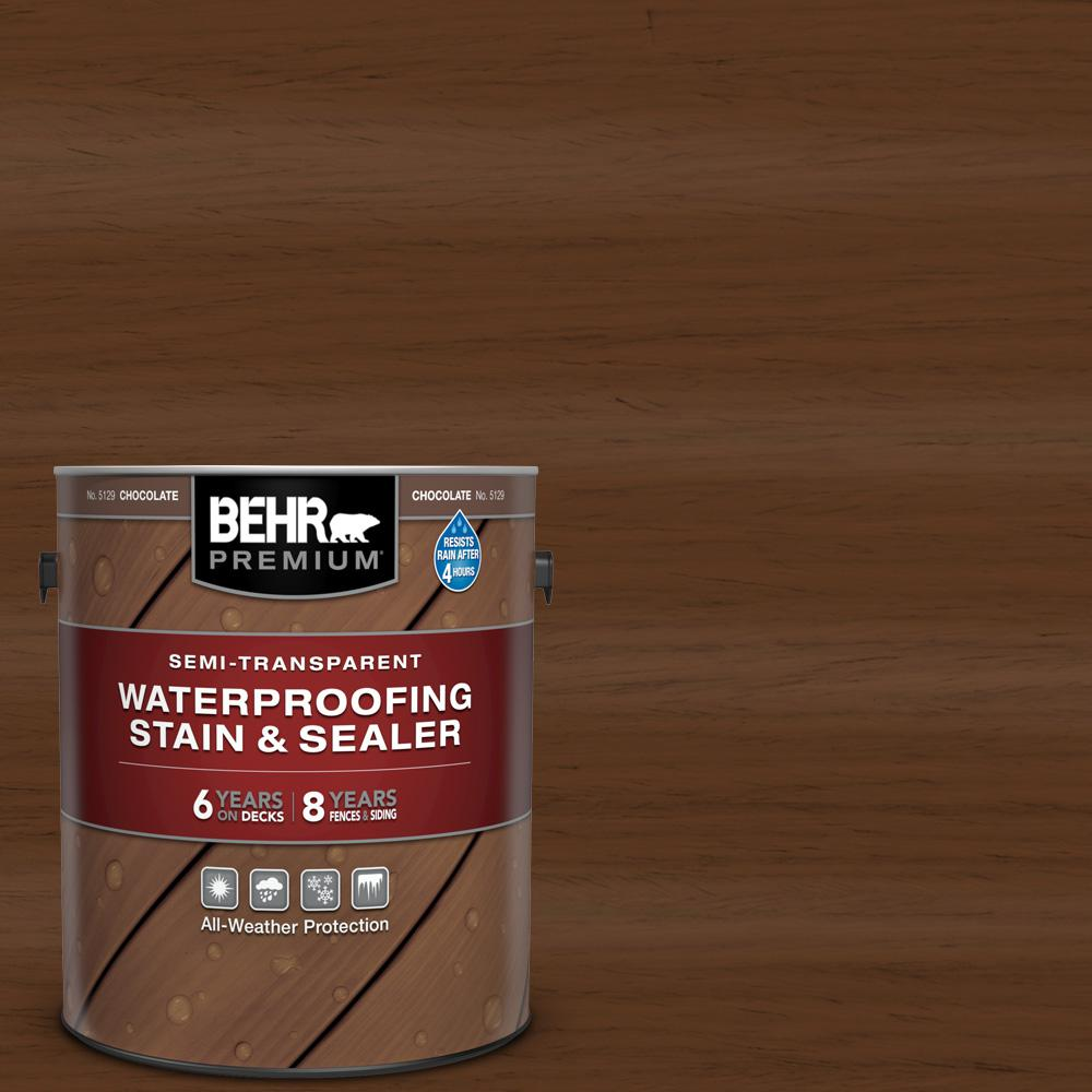 BEHR Premium 1 gal. #ST-129 Chocolate Semi-Transparent Waterproofing Exterior Wood Stain and Sealer