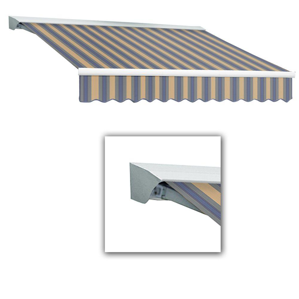 AWNTECH 8 ft. LX-Destin with Hood Right Motor/Remote Retractable Awning (84 in. Projection) in Dusty Blue/Tan Multi