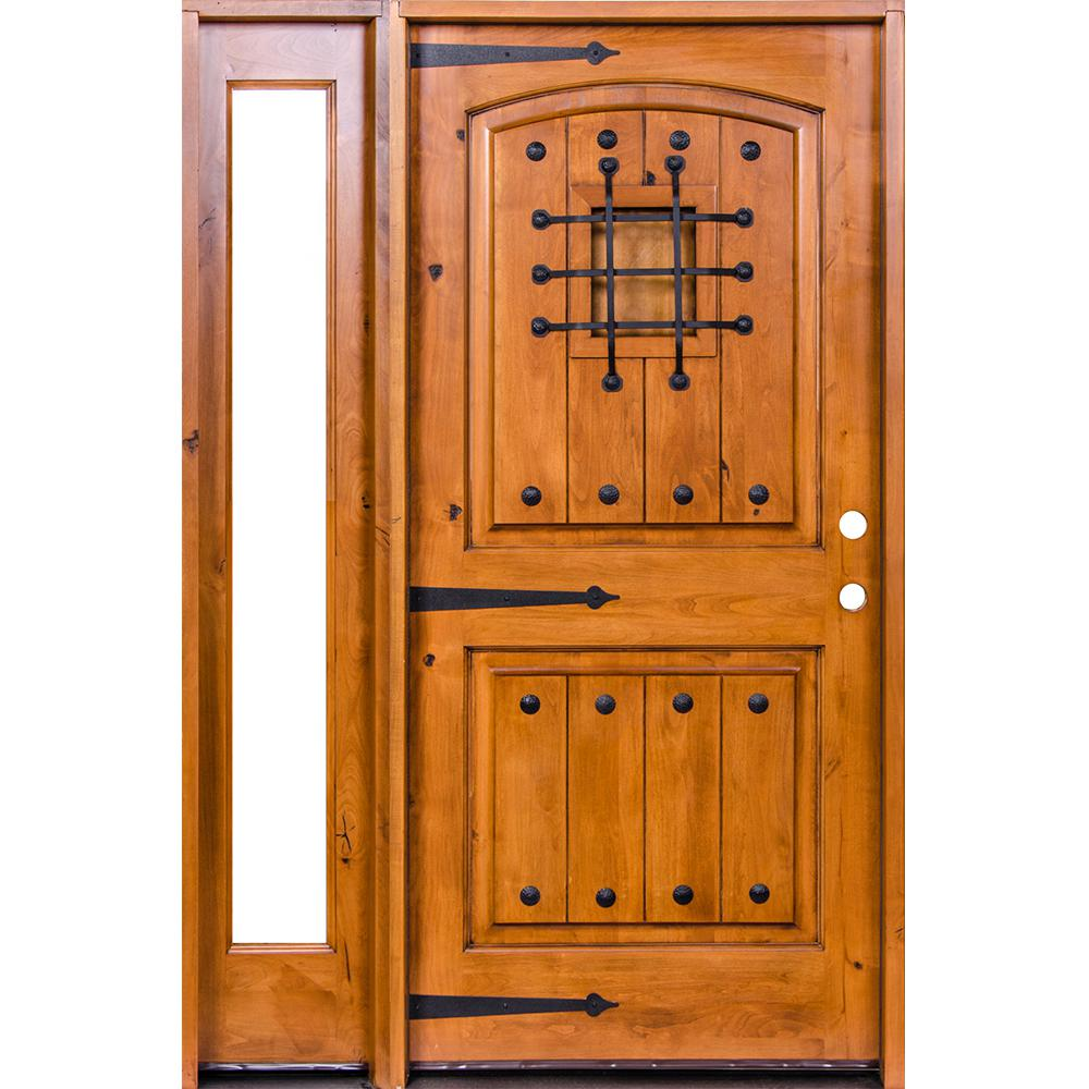 Krosswood Doors 46 in. x 80 in. Mediterranean Unfinished Knotty Alder Arch Right-Hand Left Full Sidelite Clear Glass Prehung Front Door