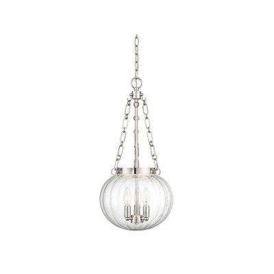 3-Light Polished Nickel Pendant with Clear Glass