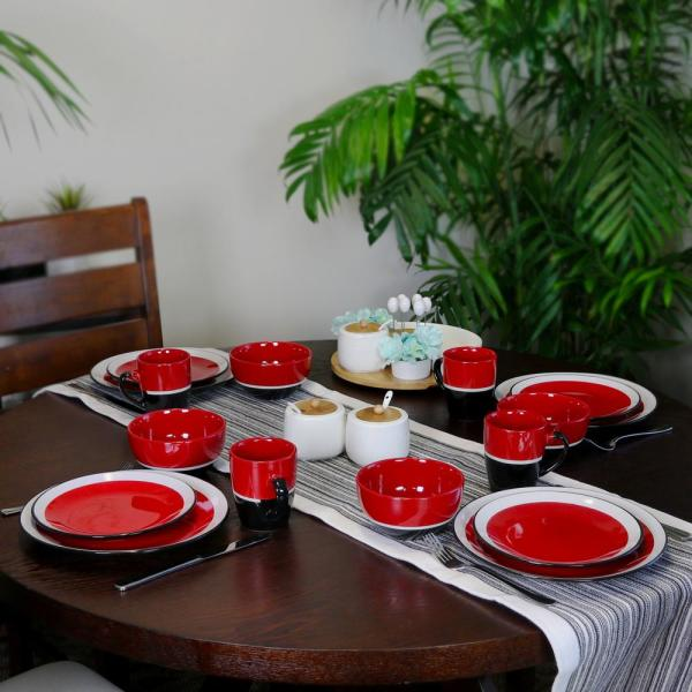 Gibson Eclipse 16 Piece Red Stoneware Dinnerware Set 98599938M