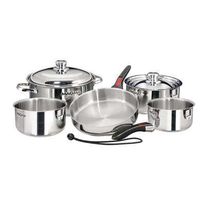 Professional Series 10-Piece Induction Compatible Nesting Cookware Set in Stainless Steel