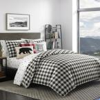 Mountain 3-Piece Black Plaid Full/Queen Duvet Cover Set