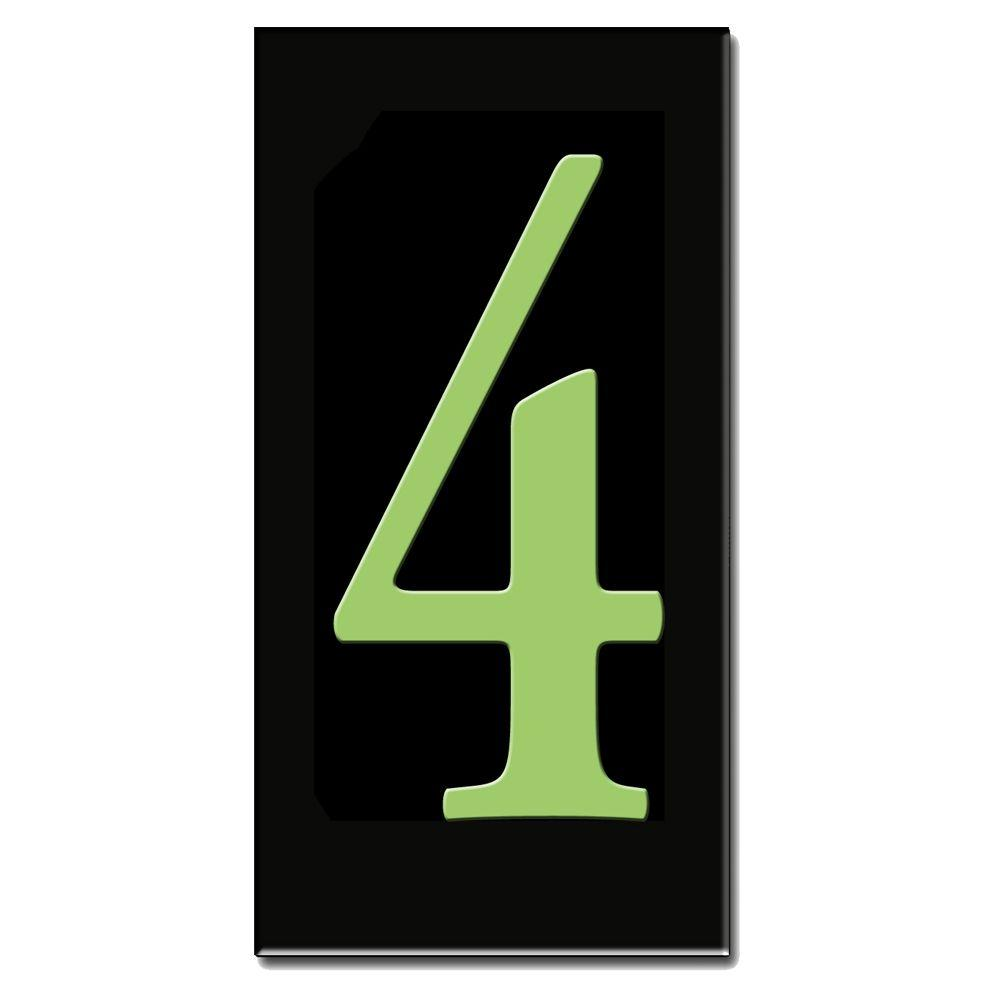 null 3 in. x 6 in. Glow in Dark Ceramic House Number 4