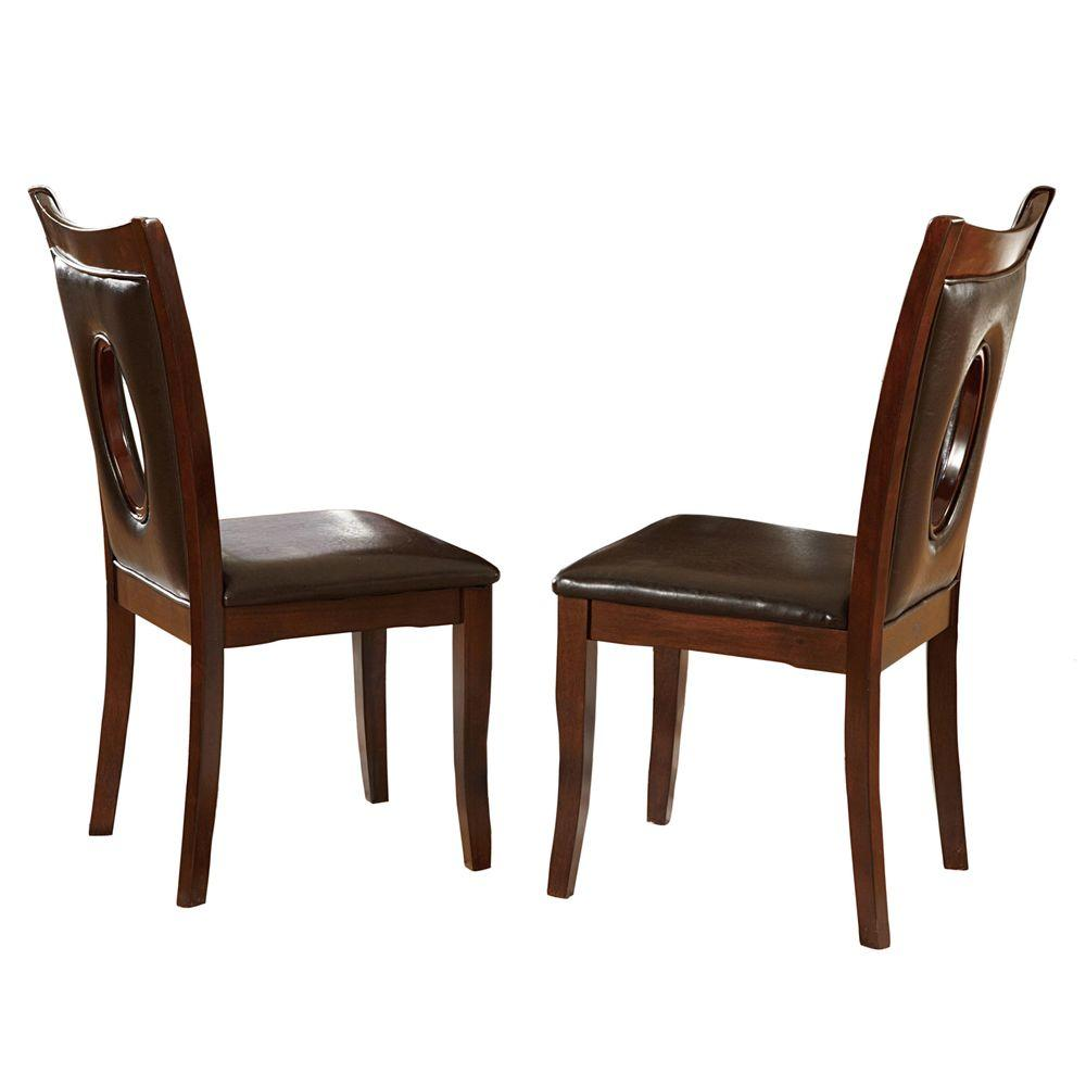 Homesullivan holmes brown faux leather dining chair set for Faux leather dining chairs