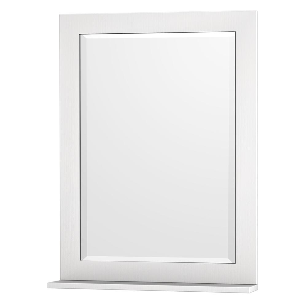 Wyndham Collection Centra 24 in. W x 32 in. H Framed Wall Mirror in White