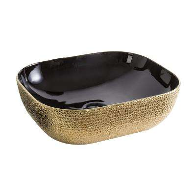 Isabella Plus Collection Rectangular Above Counter Mount Vessel Sink in Black and Gold