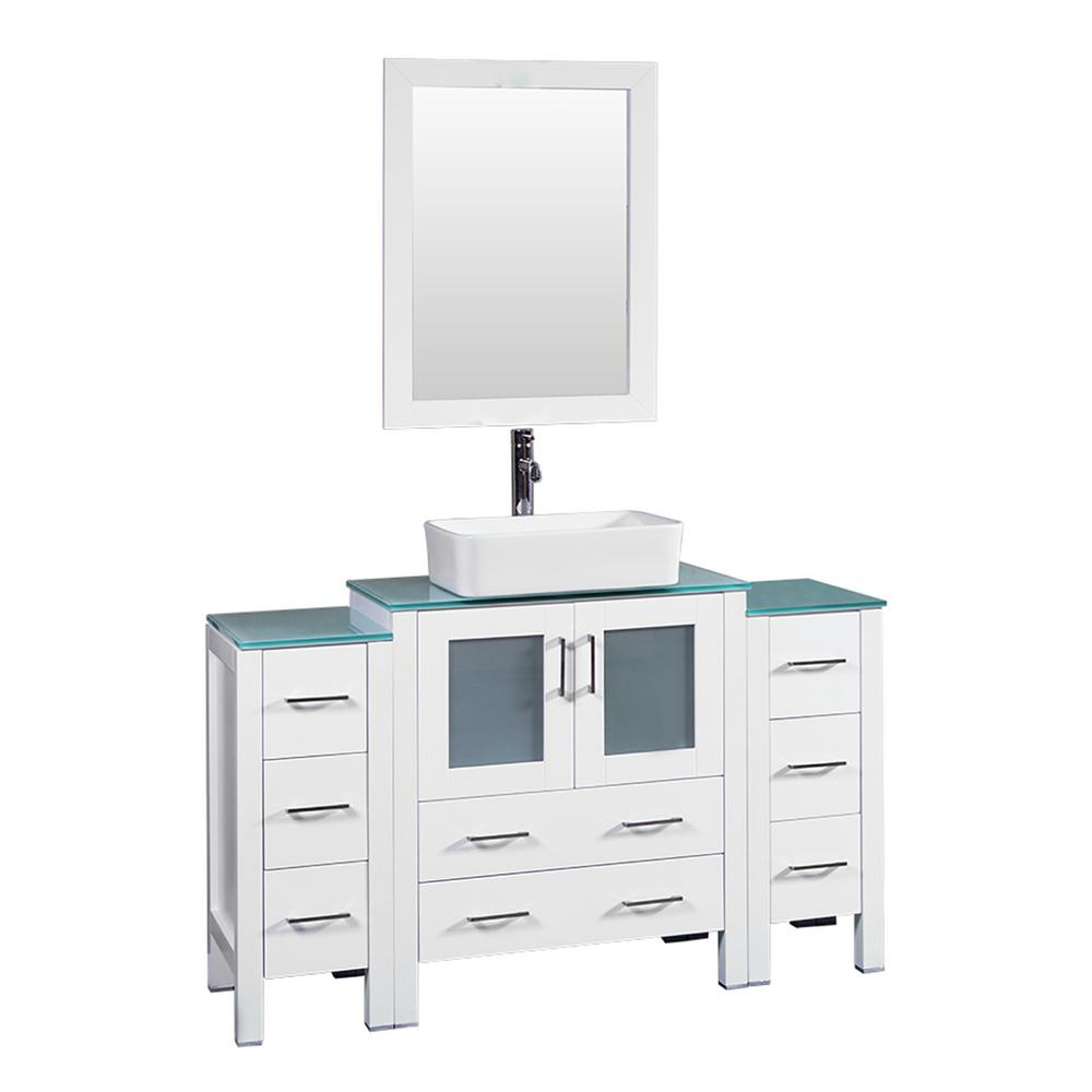 Bosconi 54 in. W Single Bath Vanity in White with Tempered Glass Vanity Top with White Basin and Mirror