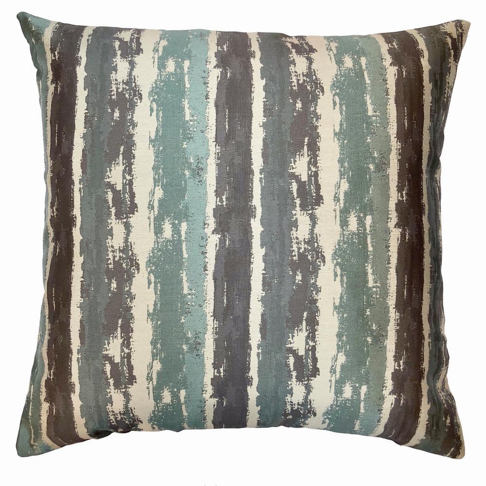 Armen Living Murray Aqua Jacquard Feather and Down Standard Throw Pillow