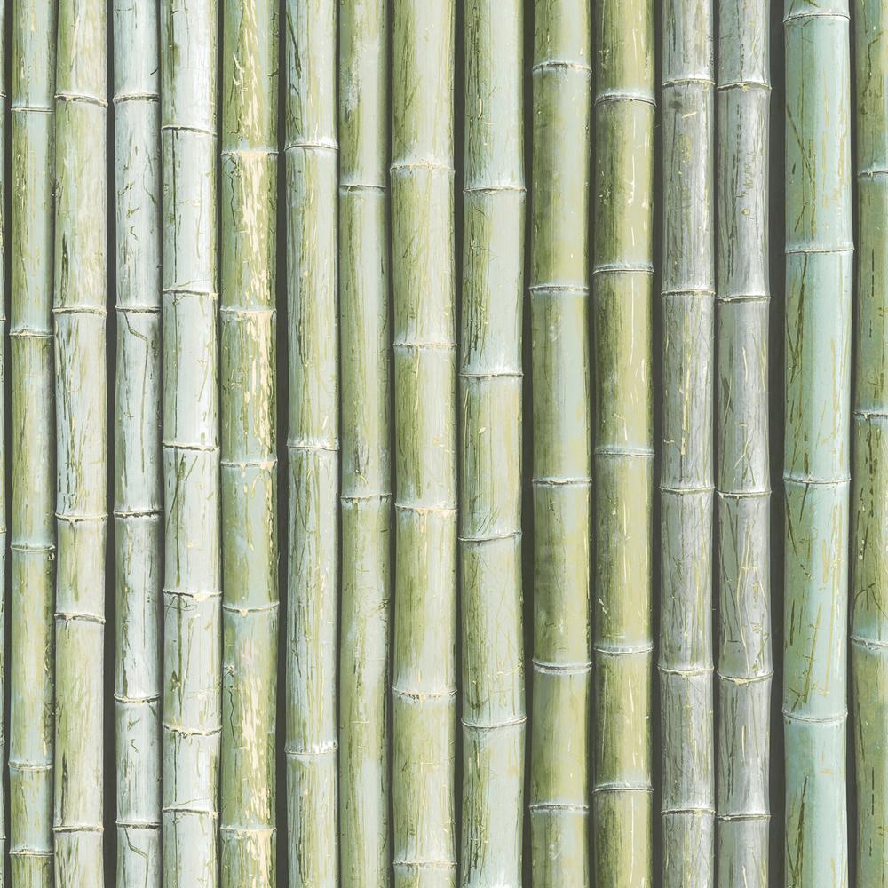 Shades of Green Faux Bamboo Wallpaper