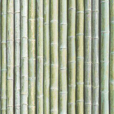 Shades of Green Faux Bamboo Wallpaper