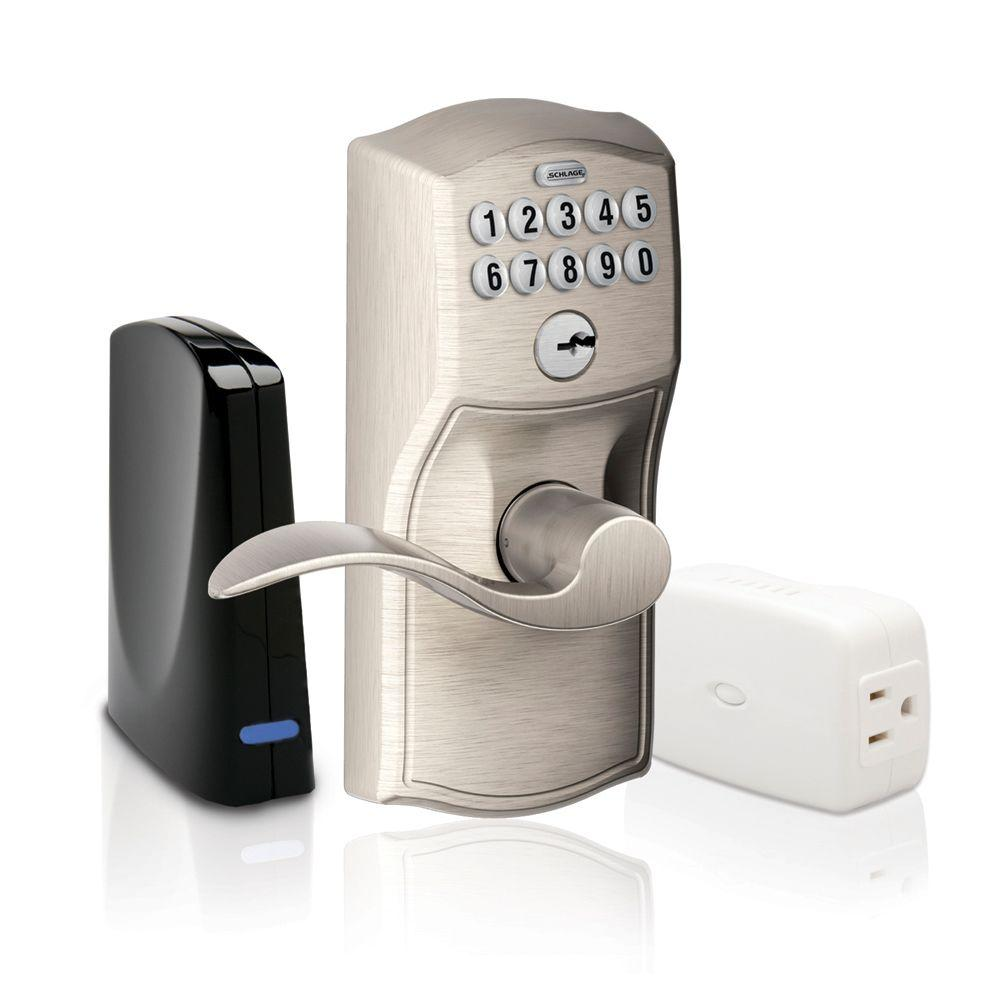 Schlage Satin Nickel Keypad Lever Home Security Kit with Nexia Home Intelligence-DISCONTINUED