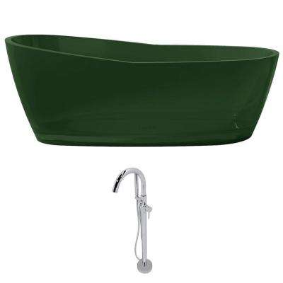 Ember 65.6 in. Man-Made Stone Slipper Flatbottom Non-Whirlpool Bathtub in Emerald Green and Kros Faucet in Chrome